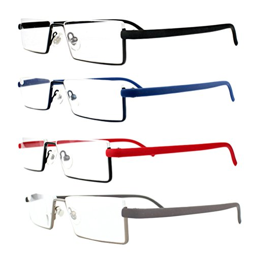 Zhhlinyuan Hochwertige Lesehilfe 4pcs Vintage Unisex Ultra-light Half-Rim Frame TR90 Reading Glasses for Men and Women with Case