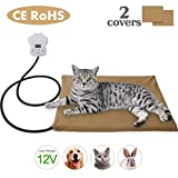 Josechan Pet Heating Pad, Low Voltage 12V Pets Adjustable Heating Mat Between 25 ℃ -55 ℃, Removable Heating Mat, Self-heating Blanket for Dogs and Cats (40 * 30cm)