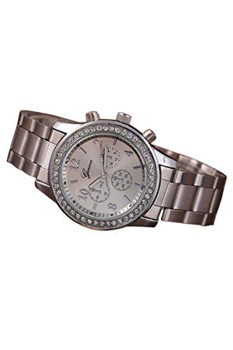 Reloj de mujer - Geneva Cristal Unisexo Acero inoxidable Reloj de pulsera de cuarzo Plata