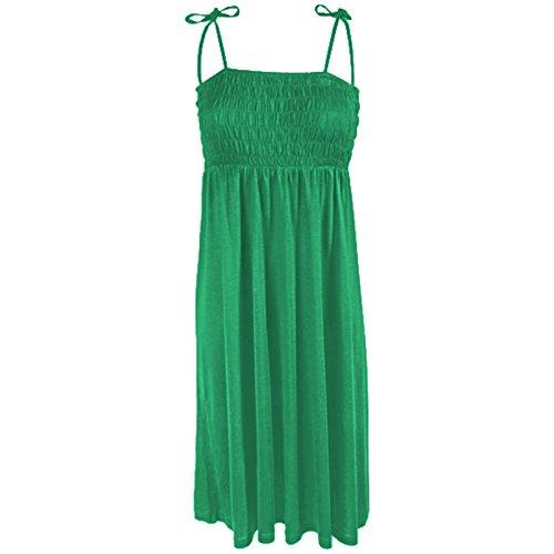 Damen Bandeau Kleid Rock 2 in 1 Sommerkleid Öko-Tex (L, Grün)