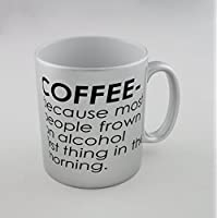 Silver mug with Coffee - because most people frown on alcohol first thing in the (Frown Mug)