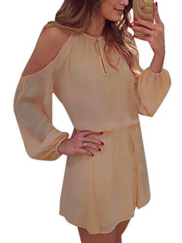 YOINS Sommerkleid Damen Kurz Schulterfrei Kleid Elegante Kleider für Damen Strandmode Langarm Neckholder A Linie Beige EU32-34(Kleiner als Reguläre Größe)