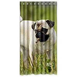 costumbre Pug Dog Perro Carlino – 100% poliéster fábrica cortina Window Curtain (una pieza), Poliuretano, E, 50x96(inches)