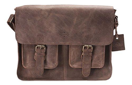 Brunhide # 154-300 - Große Messenger-Schultertasche aus echtem Büffelleder - für Laptop geeignet Coffee