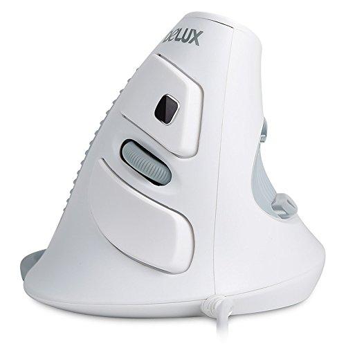 Wired Ergonomische Vertikal Maus Handheld USB 3D optische Vertikale Maus Rechtshänder Vertikale Maus Mäuse für Tablet/Notebook/Computer PC–Vorbeugung gegen Arm/Tennis Arm, mit Herz-Gesundheit Test Funktion–Weiß