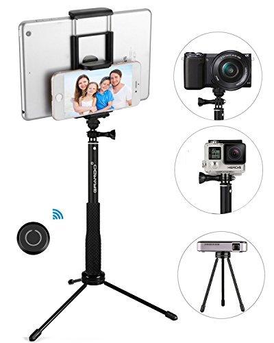 Stick Selfie, GRANDO Clip 2 in 1 Monopiede Nero Estensibile Con...