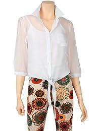 ililily Damen leicht Chiffonfarbe lässige Passform 3/4 Ärmel-Oberteil dünne Sommerkleidung Bluse