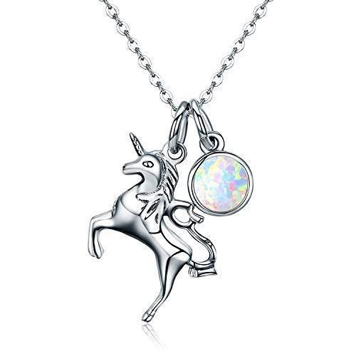 Sterling Silber Einhorn Halskette mit Opal Anhänger Halskette Weihnachtsgeschenke Schmuck Damen Ketten Rolo Kette 18