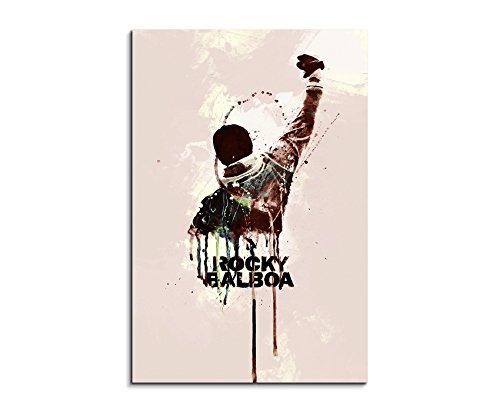 Rocky 90x60cm Aquarell Art Wandbild auf Leinwand fertig gerahmt Original Paul Sinus Art Unikat