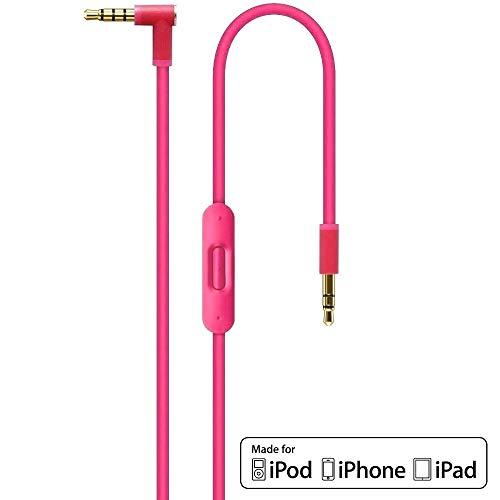 Ersatz Rosa Pink Audio AUX Kabel Verlängerungskabel für Beats by Dr Dre / Monster Kopfhörer mit Inline-Mikrofon Studio | Solo | Wireless | Pro | Mixr - Lautstärkeregler, und Anrufannahme iPhone -3,5mm (Kabel Solo-2 Rosa)