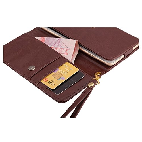 """DFV mobile - Cover Premium Crazy Horse PU Leather Wallet Case with Card Slots for =>      APPLE iPhone 6s / [4,7""""] > Black Brown"""