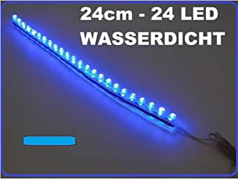 2x led leiste streifen lichtleiste 24 cm 24 led wasserdicht aquarium mondlicht blau auto hobby. Black Bedroom Furniture Sets. Home Design Ideas