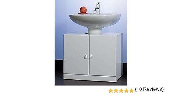 Bagno con mobile alto bianco specchio e mobile per lavabo grigio