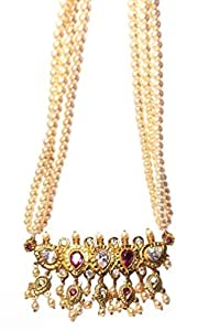 Love gold Tanmani Maharashtrian traditional Necklace for women of pearls with Ethnic Pendent