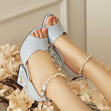 LvYuan Da donna-Sandali-Ufficio e lavoro Formale Serata e festa-Comoda Cinturino alla caviglia-Quadrato-PU (Poliuretano)-Blu Rosa Pink