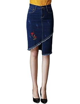 Sentao Mujeres Elegante Irregular Bordado Falda Plus Size Bodycon Falda de Mezclilla