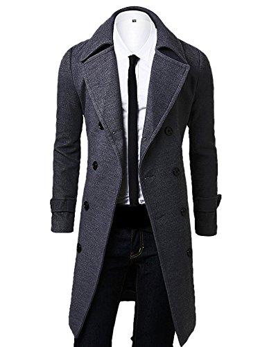 OCHENTA, a doppio petto classico collare cappotto di lana, uomo Grigio Asian XL - Italiana 52