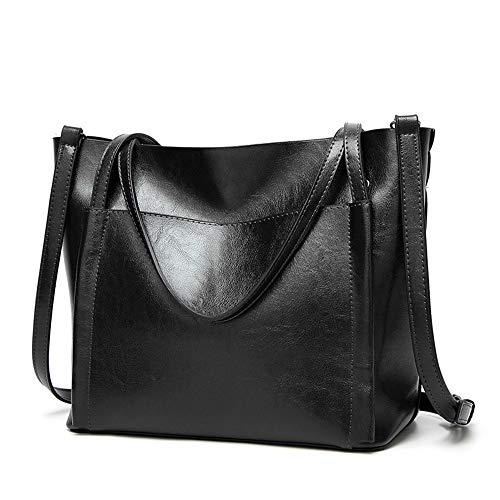 tasche Große Tasche Retro Tote Handtaschen Mode Weibliche Umhängetasche Frauen Casual Handtasche Schulter-Handtasche (Color : Black) ()