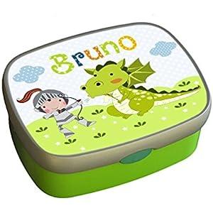 Brotdose, mit Namen, Kindergarten, Schule, Kind, Ritter, Drache, Junge, Mädchen, grün, personalisiert, Lunchbox, Vesperdose, Brotzeitdose