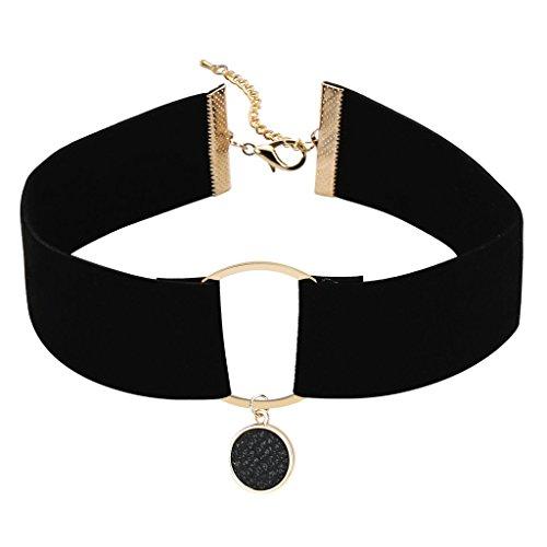 Epinki Damen Choker (Verstellbar), Samt Halsband O-Ring Breit Band Maskenspiel Kropfband Klassische Damenkette Gold Schwarz, 32.5+7CM (Schwarzer Samt Choker Mit Perlen Edelstein)