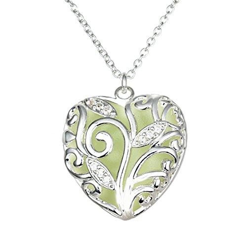 MJARTORIA Damen Kette Vintage Halskette Charms Nachtleuchtende Farbe Anhänger Pullover Kette Silber Farbe Freundschaftskette (Herz) (Farbe Halskette)
