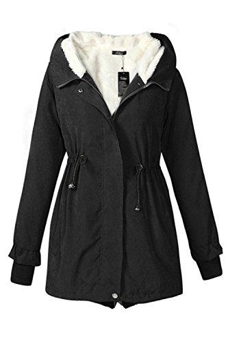 Un Hiver À Des Manteaux Épais Vêtements Anorak Éclair Intégrale Des Parkas Black