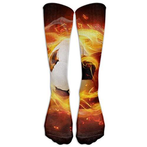 Preisvergleich Produktbild shengpeng Men's Women's Novelty Soccer Burn Fire Long Sock Athletic Calf High Crew Soccer Socks Sports