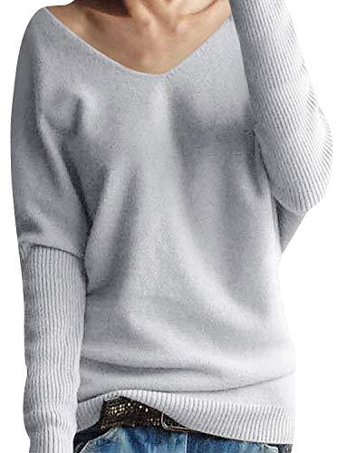 Yidarton Damen Mode Kaschmir Pullover übergroße Lose Langen Ärmeln V-Ausschnitt Fledermausflügel Herbst und Winter Warm Strickpullover (Grau, S)