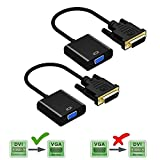 DIGMALL 1080P Aktiv DVI-D Stecker auf VGA Adapter Buchse Adapter, M/F DVI D 24 + 1 auf VGA Video Konverter für Laptop, PC Host, Grafikkarte Anschluss an Monitor Display Oder Projektor, 2 Packs