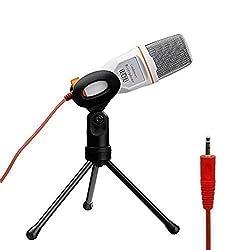 Tonor XLR zu 3.5 mm Kondensator-Mikrofon Kit Schall Podcast Studio Rundfunk & Aufnahme Microphone für Computer mit Popschutz und Verstellbarem Mikrofonhalter Mikrofonarm Mikrofonständer & Mikrofon Sets (White)