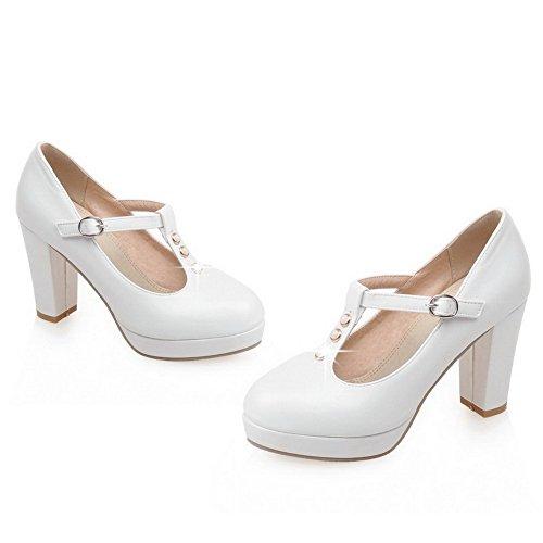 AllhqFashion Femme Rond à Talon Haut Matière Souple Mosaïque Boucle Chaussures Légeres Blanc
