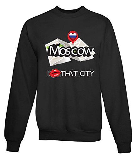 Billion Group | Moscow I Love | City Collection | Women's Unisex Sweatshirt Nero X-Large