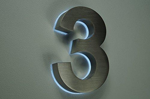 HAUSNUMMER 3 EDELSTAHL in 3D beleuchtet ca.H18cm/180mm LED weiss (12Volt) ohne Trafo