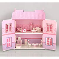 Wooden Dolls House 3 Floors with 10PCs Furnitures Toy Alice Dollhouse - Pink