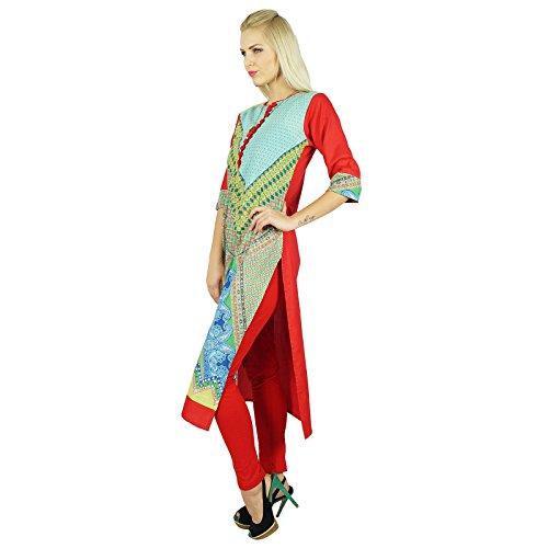 Bimba Mulitcolor Cotton personnalisé Kurti ethnique Tunique 3/4 manches Blouse Multicolore