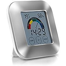 EVILTO Termómetro Higrometro Digital, Medidor de Humedad con LCD Táctil Colorida Patalla, Despertador Digital Inteligente con Función de Alarma, Temperatura y Humedad de Interior para Casa y Oficina
