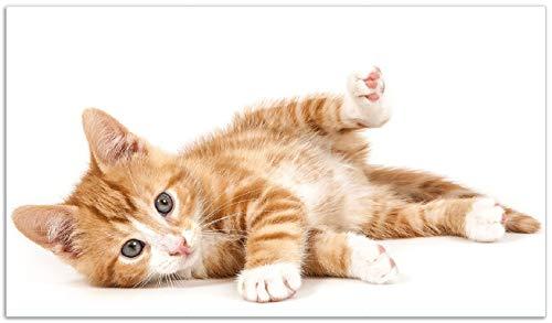 Wallario Herdabdeckplatte/Spritzschutz aus Glas, 1-teilig, 90x52cm, für Ceran- und Induktionsherde, Süße Katze mit großen Augen - rot weiß getigert