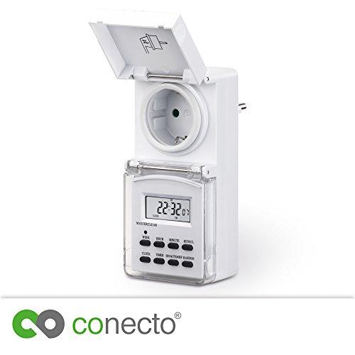 """conecto CC50203 Digitale Zeitschaltuhr für Steckdose, Innen-/Außenbereich (Indoor/Outdoor), IP44, 1,5"""" LCD-Display, 10 Schaltprogramme (Woche/Tag/Minute), Kindersicherung, 3600W, weiß"""