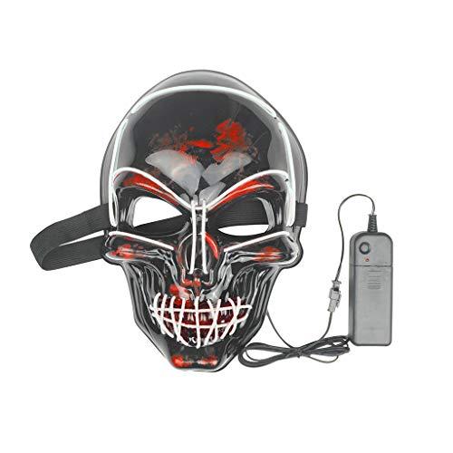 Halloween LED Maske Fasching Karneval Party Kostüm Cosplay Dekoration Gruselige Halloween Maske mit Glatze Gruselige Halloween Maske mit Glatze White Evil Big Head Clown (G) (Gruppe Cosplay Kostüm)