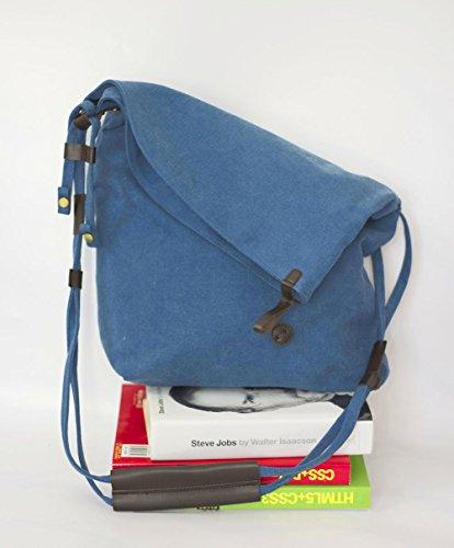 FunYoung Borsa a tracolla unisex tracolla vintage scelta del colore della tela Bag Mesenger Bag Blu