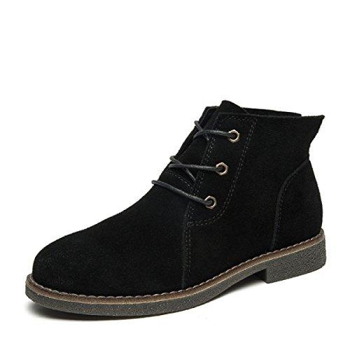 Autunno Inverno Cuoio Chelsea Flat Lace-Up Stivaletto Scarpe Scarpe Alla Moda Retro Tempo Libero Grandi Dimensioni 35-40 Black