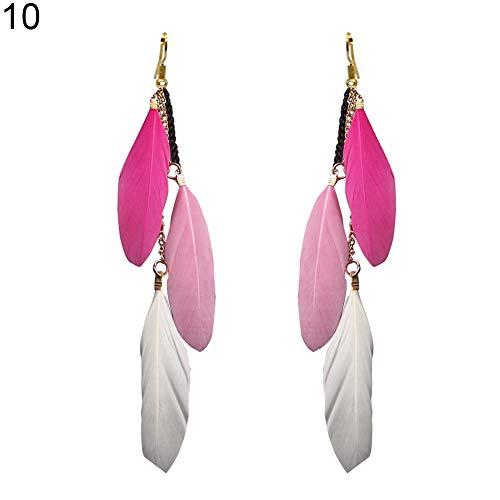 FEIDA Quaste lange Ohrringe Fashion Feder baumelnd für Frauen Mädchen Lady Haken Schmuck Weihnachten Geschenk 10#