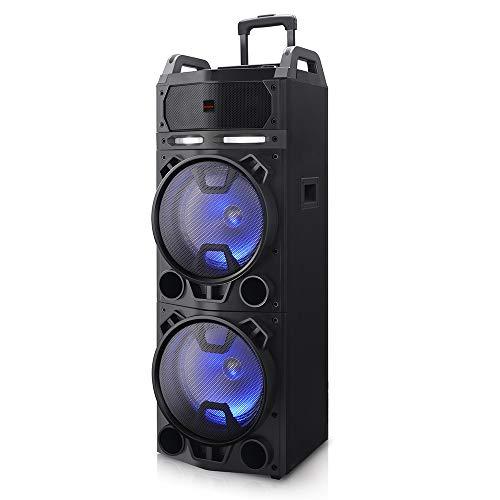 Oferta de AIWA KBTUS-900, Altavoz Trolley Bluetooth con 2X Micrófono Inalámbrico Y Mando, Talla Única, Negro