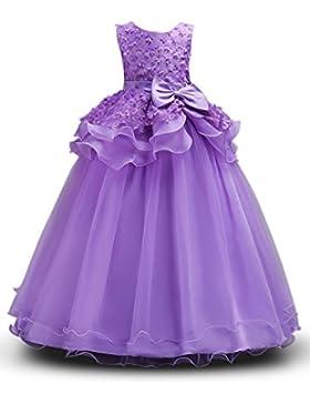 Prinzessin Kostüm Mädchen Blumen Kleider Lang Rock mit Schmetterling,ärmellos,Party,Hochzeit