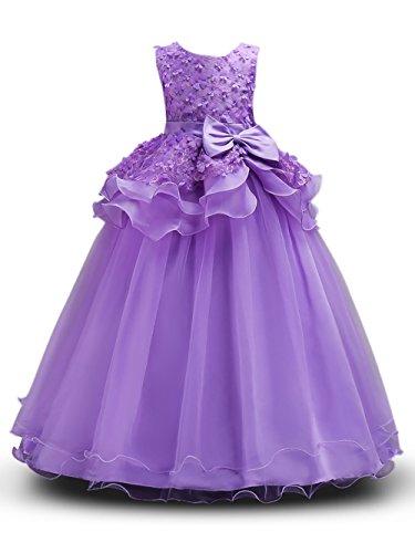 Prinzessin Kostüm Mädchen Blumen Kleider Lang Rock mit Schmetterling ärmellos Party Hochzeit KleidGr. 130 (6-7 Jahre), Violett