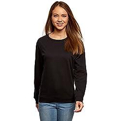 oodji Ultra Mujer Suéter Básico de Algodón, Negro, ES 36 / XS