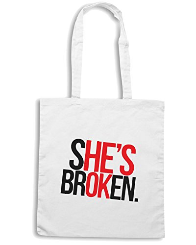 T-Shirtshock - Borsa Shopping TDM00250 she is brocken Bianco