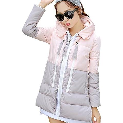 iBaste Abrigo de Pluma Invierno Mujer Multicolor con Capucha Winter Coat Women Talla 36 38 40 42 44