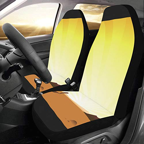 Price comparison product image Plsdx Broad Desert Beautiful Scene Custom New Universal Fit Auto Drive Car Seat Covers Protector For Women Automobile Jeep Truck Suv Vehicle Full Set Accessories For Adult Baby (set Of 2 Front)
