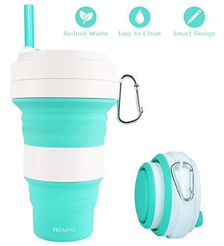 PREMYO Faltbarer Kaffeebecher to Go - Silikon Mehrwegbecher mit Deckel und Strohhalm - Trinkbecher Auslaufsicher - Minze